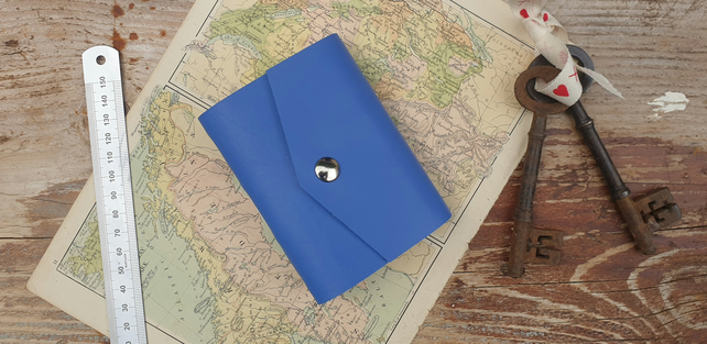Handmade Leather Journal - Small Size 4 x 3 - Hand-Stitched - Cornflower Blue