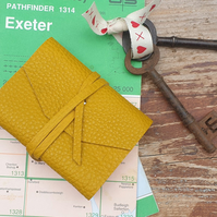 Handmade Leather Journal - Small Size 4 x 3 - Hand-Stitched - Yellow