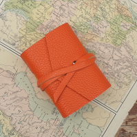 Handmade Leather Journal - Tiny Size 3 x 2 - Hand-Stitched - Orange