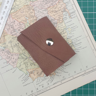 Handmade Leather Journal - Tiny Size 3 x 2 - Hand-Stitched - Brown