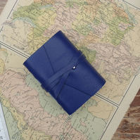 Handmade Leather Journal - Tiny Size 3 x 2 - Hand-Stitched - Blue