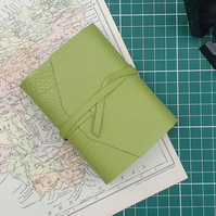 Handmade Leather Journal - Small Size 4 x 3 - Hand-Stitched - Light Green