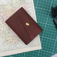 Handmade Leather Journal - Small Size 4 x 3 - Hand-Stitched - Brown