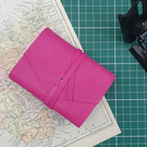 Handmade Leather Journal - Small Size 4 x 3 - Hand-Stitched - Pink