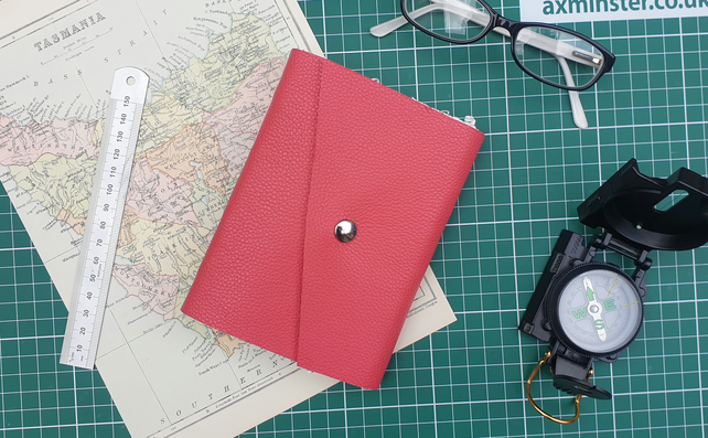 Handmade Leather Journal - Size 6 x 4 - Hand-Stitched - Pink