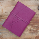 Handmade Leather Journal - Size 6 x 4 - Hand-Stitched - Purple