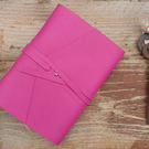 Handmade Leather Journal - Size 6 x 4 - Hand-Stitched - Hot Pink