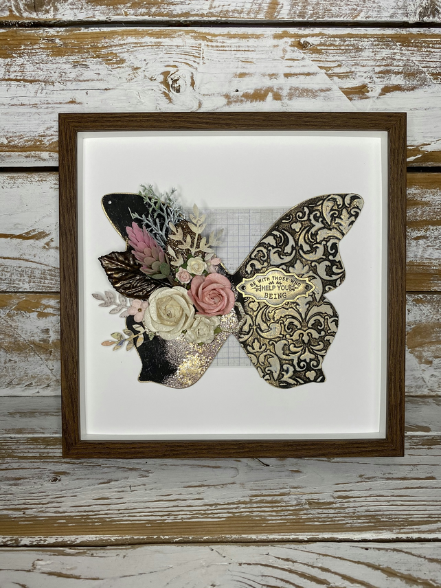 Beautiful Framed Mixed Media Butterfly