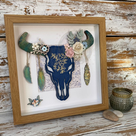Handmade Boho Mixed Media Framed Steer Skull