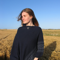 Nordic Star Collection Poncho- Navy & Blue