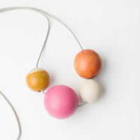 Dolce - Burnt orange, white, mustard, hot pink and natural wooden bead necklace
