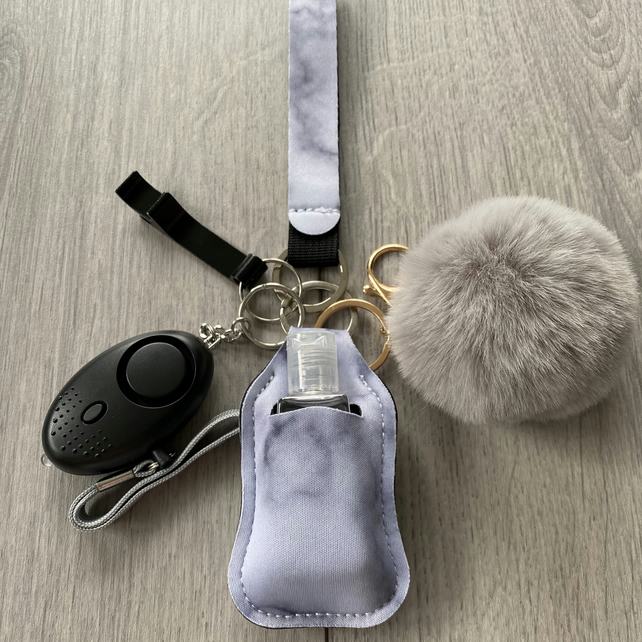 Safety Keychain with Hand sanitiser and Alarm - includes shipping