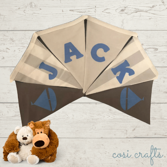 Personalised Fabric Bunting - Blue & Grey