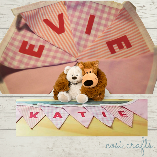 Personalised Fabric Bunting Pink New Baby - Fabric Bunting