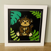 3D Layered Paper Jungle Monkey - perfect for any child's room