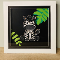 3D Layered Paper Jungle Zebra - perfect for any child's room
