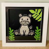 3D Layered Paper Jungle Hippo - perfect for any child's room