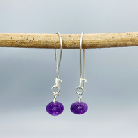 Silver earrings with faceted Amethyst