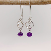Silver earrings with silver lantern and faceted Amethyst