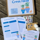 Kids activity box, garden set for kids, grow your own cress head