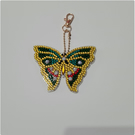 Colourful diamond art green butterfly key ring with gold keyring clasp