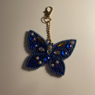 Colourful diamond art blue butterfly key ring with gold keyring clasp