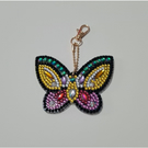 Colourful diamond art butterfly key ring with gold keyring clasp