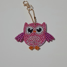Colourful diamond art  pink owl keyring with gold keyring clasp