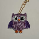 Colourful diamond art purple owl keyring with gold keyring clasp