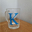 Personalised beer tankard with large Initial and smaller print  Name