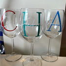 59cl Wine glass personalised with your initial and your name.