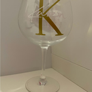 Gin glass personalised with your initial and your name.