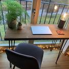 Rustic and modern solid wood desk - made from sustainable wood - hair pin legs