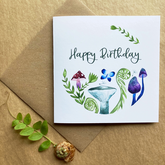 Free UK Shipping - Birthday Card - Fern & Mushroom Illustration