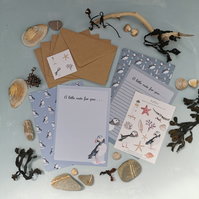 Puffin letter Writing Paper, Letter Writing Set UK, Stationery Set