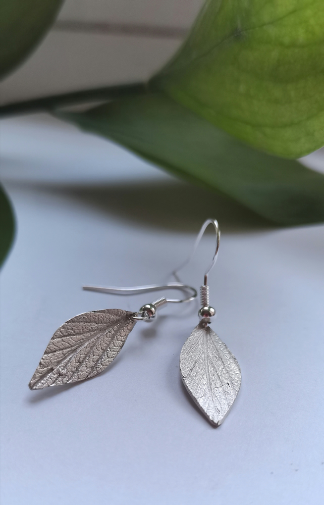 Solid pure fine silver leaf earrings