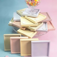Set of 4 Pastel Square Coasters - Assorted Colours