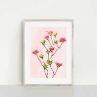 Pink Watercolour Flower Print. Digital Download. Instant Art. Wall Art.