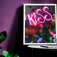 Kiss Pink Neon Flower Print. Digital Download. Instant Art. Wall Art.