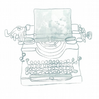"""Typewriter monoprint drawing """"Barely There"""" 1"""