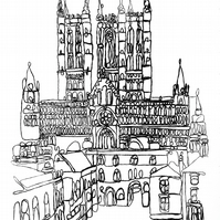 Lincoln Cathedral continuous-line monoprint