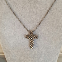 Mirror Glass Beaded Cross with Gunmetal Silver Chain