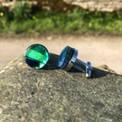 Fused Glass and Stainless Steel Cufflinks.