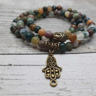Gorgeous Indian Agate Hamsa Buddha Stretch Bracelet set