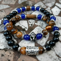 Unisex Tigers eye, Black Obsidian and Blue Jade Bracelet Set