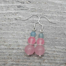 Pretty Pastel Sterling Silver Rose Quarts & Amazonite Drop earrings