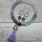 Beautiful Frosted Fluorite Lotus Flower Bracelet and Sterling silver Earring set