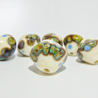 6PCS Unique Handmade Lampwork Glass Beads for Jewellery Projects, Focal Beads