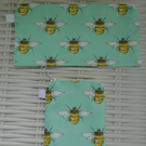 Meadow Bees Gift Set Purse, Card Holder & Small Make Up Bag or Pencil Case.