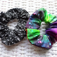 Pack of 2 Handmade Notes & Cosmic Galaxy Hair Scrunchies.
